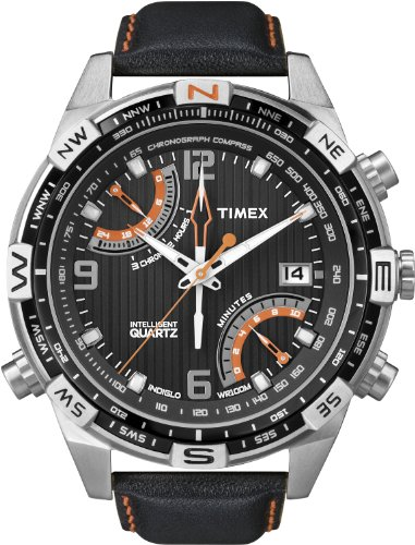 Timex Men's T49867 Intelligent Quartz Fly Back Chrono Compass Black Leather Strap Watch