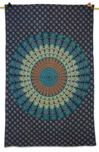 "Designer Wall Table Runner Tapestry Wall Décor Mandala Print Table Cloth Large Bed Spread 84"" X 54"" Print Defect front-960324"