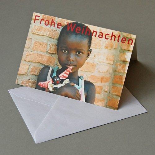Weihnachtskarte mit Spendenanteil für burundikids: Mädchen mit Stoffengel, Klappkarte mit weißem gefüttertem Umschlag