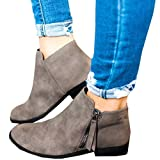 Ofenbuy Women's Leather Pointed Toe Stacked Low Heel Side Zipper Ankle Boots Booties