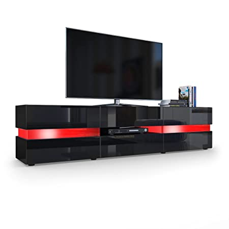 TV Board Lowboard Flow, Korpus in Schwarz matt / Front in Schwarz Hochglanz inkl. LED Beleuchtung