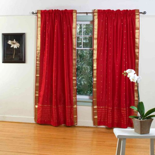 Discount Fire Brick 84 Inch Rod Pocket Sheer Sari Curtain Panel India Pair Blegdagblegdug