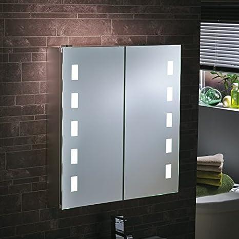 """Lumino Mirrors """"Satis"""" Illuminated LED Bathroom Cabinet Mirror 65x63cm"""