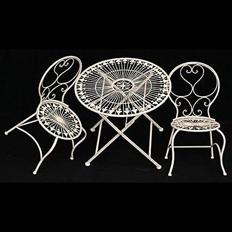 Kinder Tisch Stuhle Gartenmöbel Set 1Tisch & 2 Stuhle weiß antik Terrasse Balkon