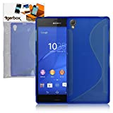 Tigerbox® Premium S-Line Slim Hydro Gel Skin Case Cover For Sony Xperia Z3 With Screen Protector - Blue