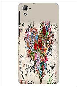 PrintDhaba Heart D-2156 Back Case Cover for HTC DESIRE 826 (Multi-Coloured)
