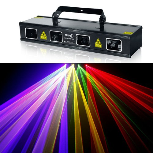New Us-Vision 4 Lens Powerful 1.1W 1100Mw Rgyb Dmx Laser Scan Stage Lighting Dj Party Show Light Led Projector Diode Full Color Sound