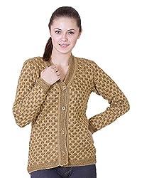 Pazaro Women's Blended Cardigan (RB01-G_P, Gold, L)