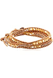 Chan Luu Natural Mother of Pearl wrap bracelet on beige leather