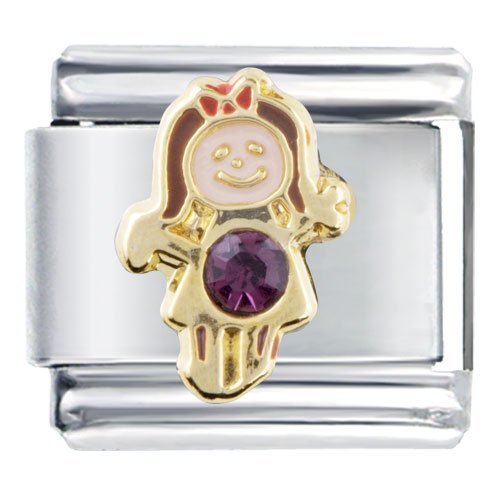 February Amethyst Color Girl Child Baby Birthstone Italian Charm