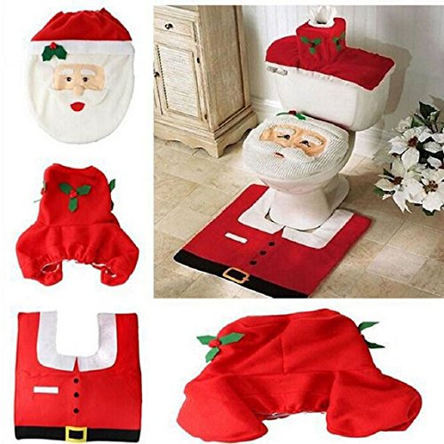 LLTrader® Merry Christmas Santa Toilet Seat Cover and Rug 3 in 1 Set Fancy Xmas Christmas Decor Gift