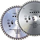 NBS Werkzeuge 2 er Satz HM Hartmetall Kreissägeblatt 190 x 30 x 48 / 60 Zähne