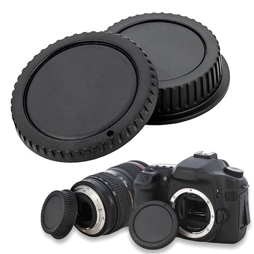 eForCity Camera Body Cap and Rear Lens Cover Cap Compatible with Canon EOS