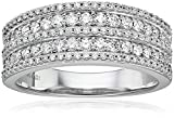 14k White Gold Diamond 5 Row Raised Edge Anniversary Ring (3/4cttw, H-I Color, I1-I2 Clarity)