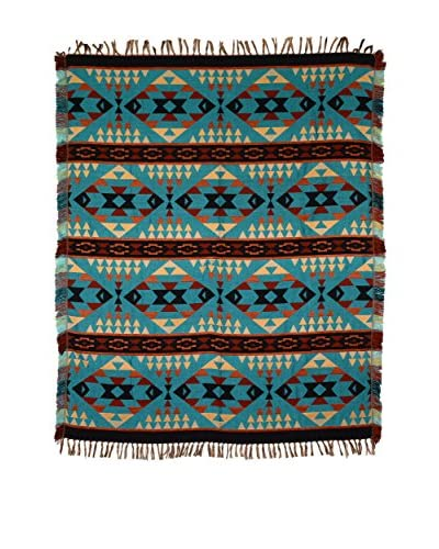 Uptown Down Accent Throw, Black/White/Teal As You See