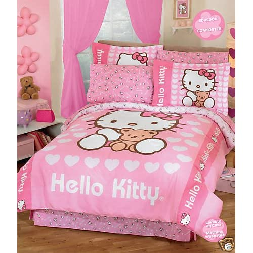 Hello kitty love comforter bedding set full 8 pcs hello kitty queen
