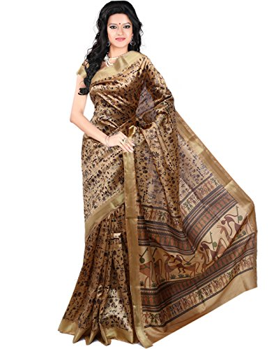 Roopkala Printed Art Silk Beige Saree