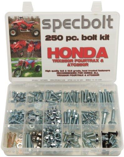 250pc Specbolt Honda TRX250R Fourtrax & ATC250R Bolt Kit for Maintenance & Restoration OEM Spec Fasteners fits quad and three wheeler TRX 250R ATC by Specbolt Fasteners (250r Three Wheeler Fenders compare prices)