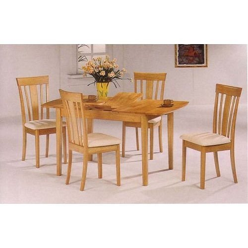 5pc Natural Finish Butterfly Leaf Dining Table Chairs Set Sieka093w