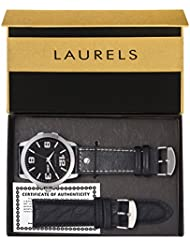 Laurels Dexter Large Black Dial Date Display Men's Watch With Additional Strap (Lo-Dxtr-020207)
