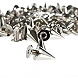 Tinksky 100pcs 7*9mm Metal Cone Spikes Screwback Studs DIY Leather Craft Punk Style Rivets (Silver)