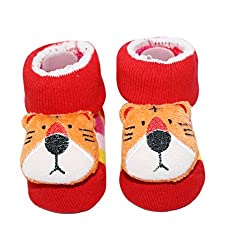 Wonderkids Tiger Plush Baby Socks Booties - Red