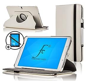 ForeFront Cases® - Étui en cuir synthétique avec support pour Samsung Galaxy Tab 3 10.1 8 Gb 3G + Wi-Fi - fermeture magnétique avec mise en veille automatique + stylet et film de protection pour écran - Blanc