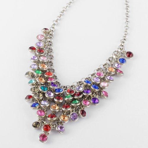 Fashion Silver Chain Colorized Rhinestone Bunch Pendant Bib Statement Necklace
