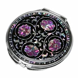 Antique Alive Mother Of Pearl Purple Flower Black Double Compact Handbag Purse Makeup Cosmetic Pocket Hand Mirror, 3.2 Ounce