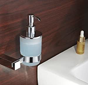 Soap Lotion Dispenser With Frosted Bottle And Brass Holders In Polished Chrome Finish Wall