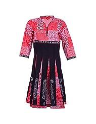 Karni Women's Cotton Pink & Black Kurti