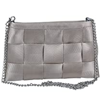 Ecosusi Ecobags Womens Evening Clutch Seatbelt Bowl Shoulder Bag Champagne