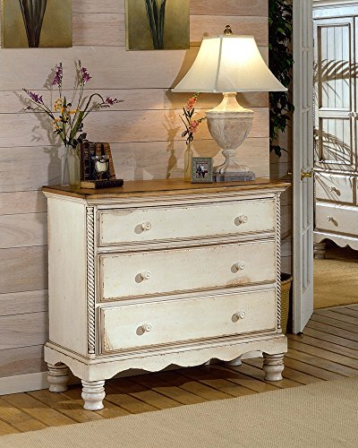 """Hillsdale Furniture 1172-772 Wilshire 42.25"""" Bedside Chest with 3 Drawers Tongue and Groove Drawer Bottoms and Solid Pine Wood Construction in Antique 0"""