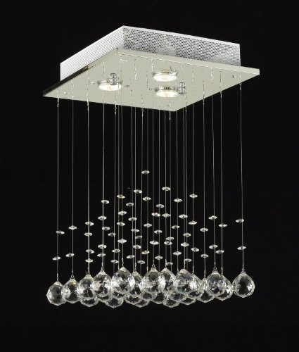Modern Chandelier Rain Drop Lighting Crystal Ball Fixture Pendant Ceiling Lamp H18 X W12, 3 Lights, Free Shipping