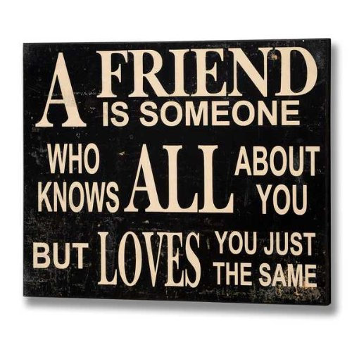 Hanging Wall Plaque - A Friend Is Someone Who Knows All About You But Loves You Just The Same - Wooden Wall Sign