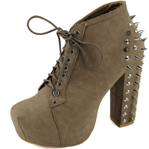 Nature Breeze Francheska-03 Taupe Nude Spikes Platform Booties, Size: 11 (M) US [Apparel]