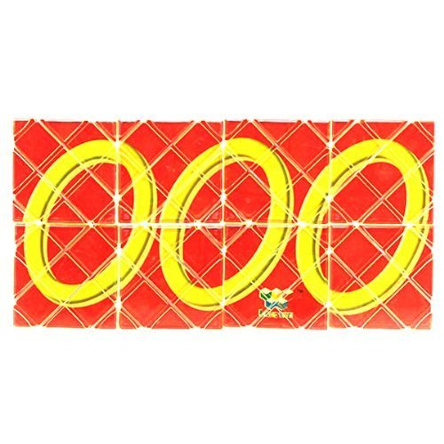 LingAo Mini 8 Panels 3 Rings Red Magic Folding Puzzle Cube Twisty - 1