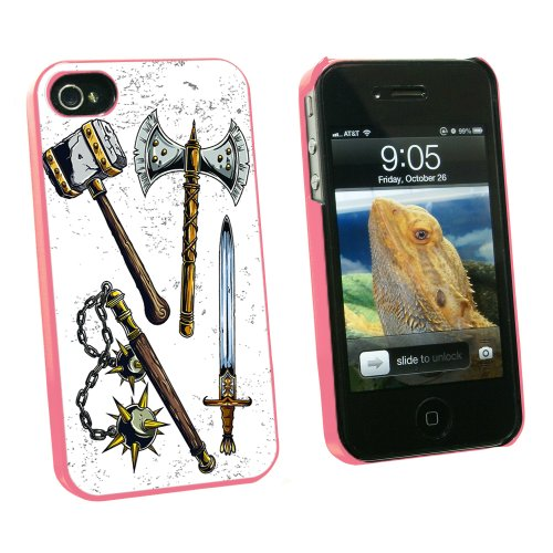 Fantasy Medieval Weapons - Axe Sword Mace War Hammer - Snap On Hard Protective Case for Apple iPhone 4 4S - Pink