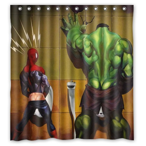 Superhero Hulk in the Toilet Custom Design Shower Curtain Personalized Bath Curtain 66 * 72 Inch (How To Make Superhero Costumes)