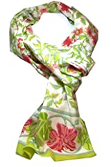 Anokhi 100% Cotton Voile White Rambling Rose Fashion Scarf