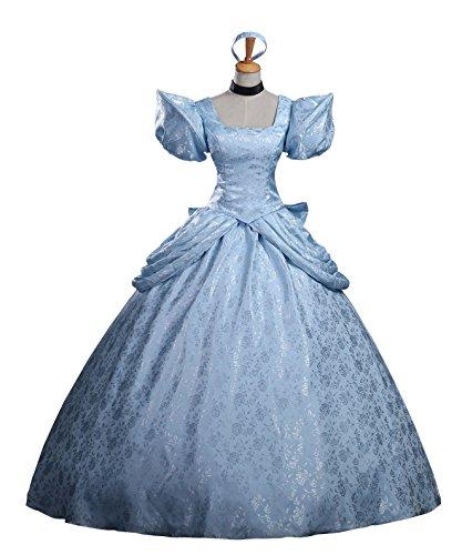 cosrea Disney Cinderella Classic Ballkleid Brokat Satin Cosplay Kostüm