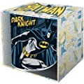 Official Batman logo mug with faded comic strip background