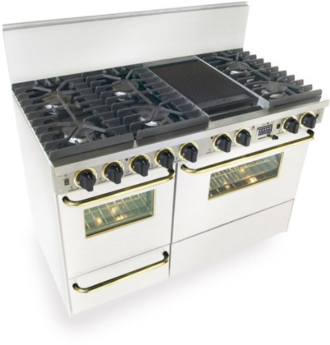 "48"" Pro-Style Dual-Fuel Lp Gas Range With 6 Sealed Ultra High-Low Burners 3.69 Cu. Ft. Convection Electric Oven Self-Cleaning And Double Sided Grill/Griddle White With Brass"