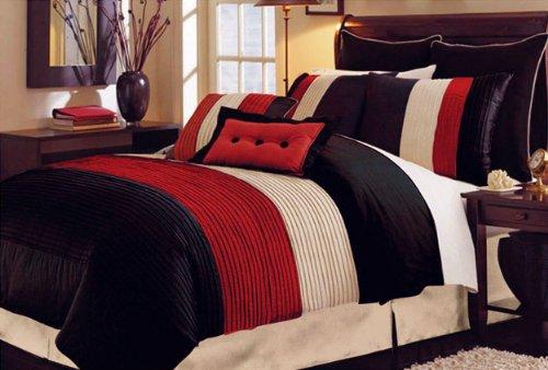Silk Bedding Set: 8 PC LUXURY SUPER SET, RED FAUX SILK