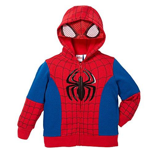 Superhero Little Boys Zip-Up Fleece Hoodie With Mesh Mask, 5, Spiderman