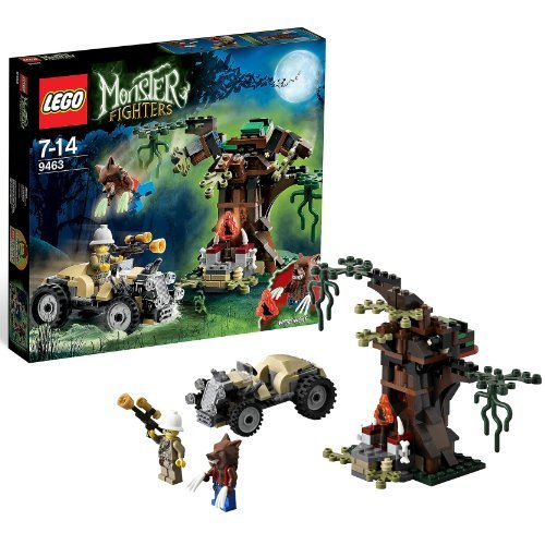 Lego Year 2012 Monster Fighter Series Battle Scene Set #9463 - THE WEREWOLF With Hot Rod Vehicle Tree Moonstone...