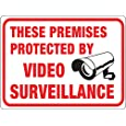 "Hy-Ko Plastic Sign  ""These Premises Protected by Video Surveillance"" ""These Premises Protected by Video Surveillance"""