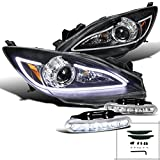 Mazda 3 JDM Black LED DRL Strip Projector Headlights w/ 6-LED DRL Fog Lamp
