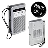 2x Sony ICF-S22 Portable AM/FM Radio