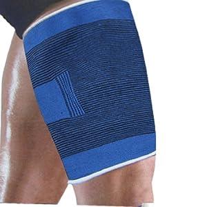Adult Blue Black Stretchy Sleeve Leg Thigh Support Brace